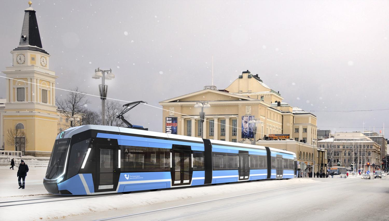 Tampereen raitiotien rakentaminen on päässyt vauhtiin. Esnimmäinen vaihe on valmis 2021. (Havainnekuva Raitiotieallianssi)