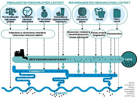Mikromuoveja kertyy useita lähteistä. (Kuva: SYKE)