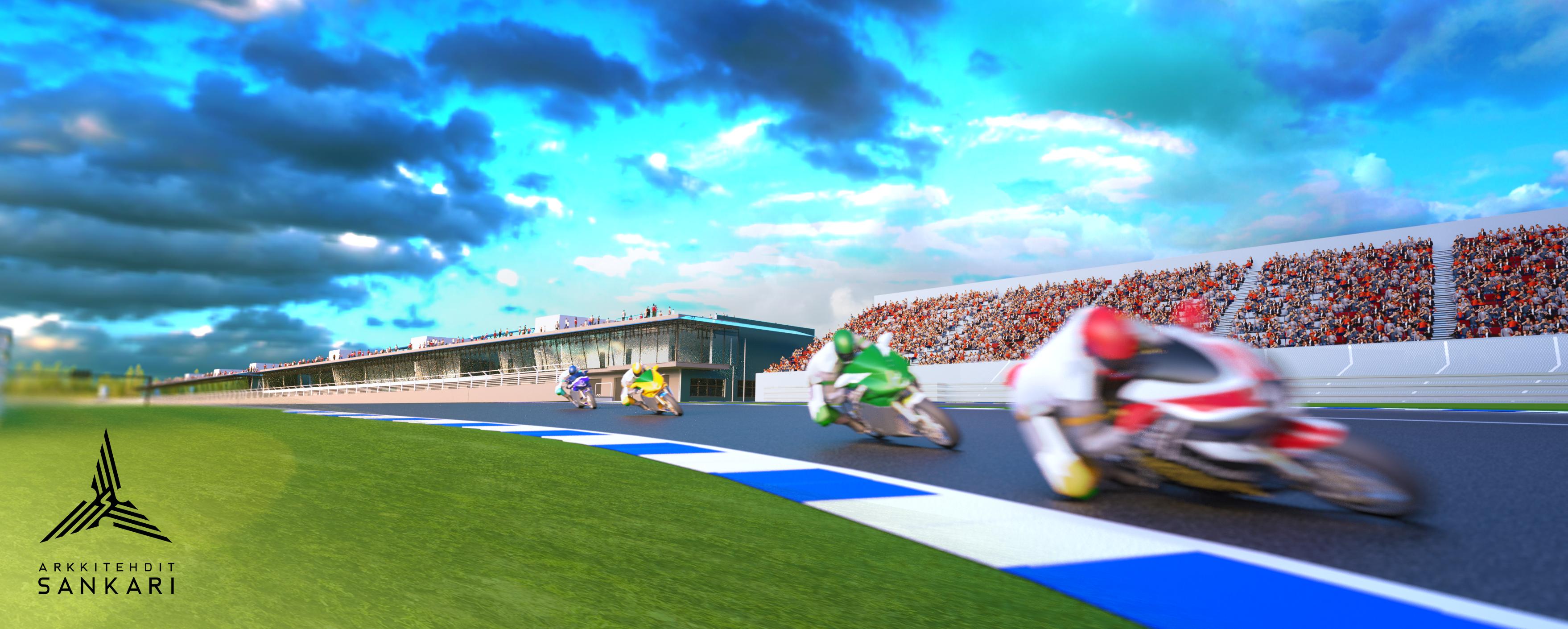 F1-tasoisella KymiRingillä olisi tarkoitus ajaa MotoGP-luokan kisat heinäkuussa 2018. (Kuva Sankari Arkkitehdit)