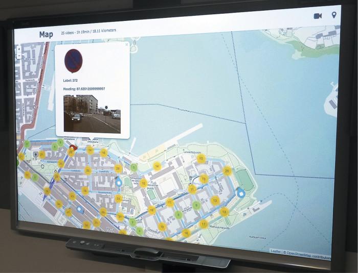 Kuva liikennemerkkien inventointityökalun käyttöliittymästä