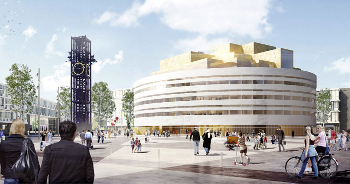 Havainnekuva uudesta kaupungintalosta, jonka maarakennustyöt ovat käynnissä.