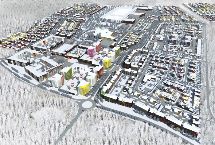 Hiukkavaaran keskus talvella, viistoilmakuva.
