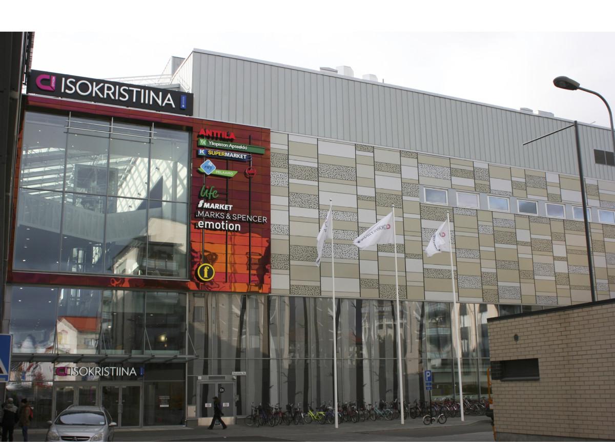 Kauppakeskuksen Kaivokadun puoleinen pääsisäänkäynti on lähinnä teatteria. Teatteri sijaitsee rakennuksen ylimmässä kerroksessa. Ikkunan läpi näkyy portaikko, oikealla rivi näyttelijöiden pukuhuoneiden ikkunoita.