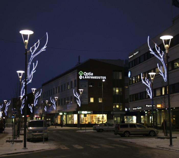 Rovakadun valaisinpylväissä Rovaniemellä on luontoaiheinen koriste.
