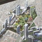 Tornit sijoittuvat kaupunkirakenteessa hiukan sinne tänne.