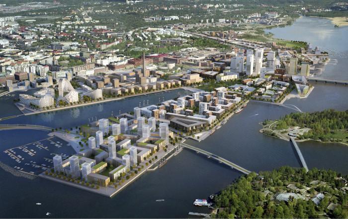 Kalasatama on toinen Helsinkin lähivuosien infrarakentamisen suurhankkeista. Kuva: SRV