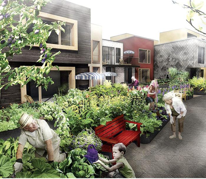 """Yhteisöllisyys on urbaanin pientaloasumisen keskeisiä arvoja. """"Pocket neighbourhood"""", harjoitustyö, asuntosuunnittelun ammattikurssi 2015 TTY, Petra Moravcova."""