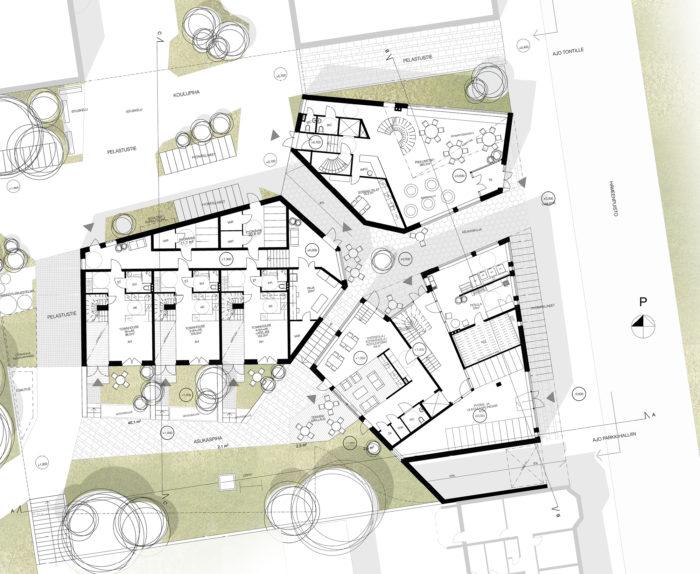 """Townhouse-kaupunkitalojen vieressä sijaitsee rakennus, jossa on kotileipomo ja pesula. """"4 is more"""", harjoitustyö, asuntosuunnittelun peruskurssi 2015 TTY, Teemu Paasiaho."""
