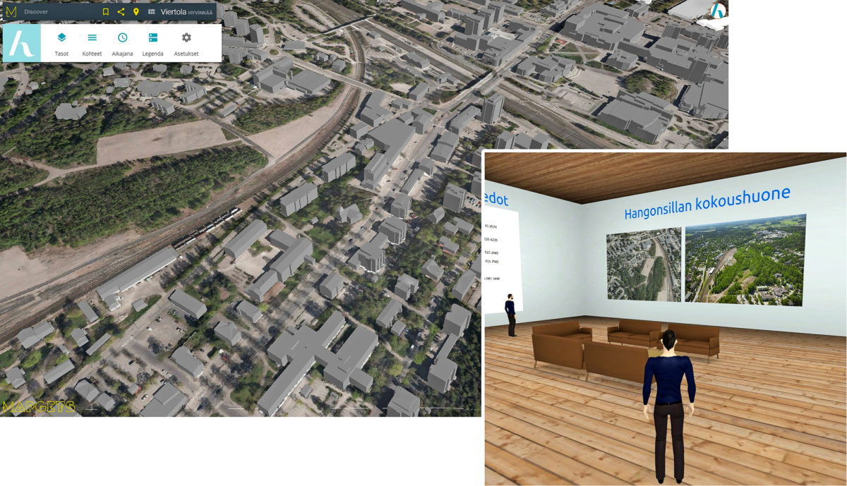 Pelkällä selaimella toimiva Smart Hyvinkää –sovellus mahdollistaa sekä kaupunkiympäristön että rakennusten sisätilojen visualisoinnin. 3D-virtuaalihuone toimii myös Hangonsillan hankkeen videokokoushuoneena ja on hankkeen virtuaalinen 'Big Room', josta hankeen tiedot jatkuvasti löytyvät.