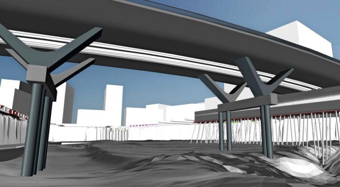Aluetietomalli kuvaa uuden rakennusalueen nykytilannetta ja tulevaisuutta kolmiulotteisessa muodossa. Sitä voidaan käyttää tiedotettaessa asukkaille, rakentamisen osapuolille ja muille sidosryhmille alueen rakentamiseen liittyvistä asioista, kuten rakennusten, puistojen ja katujen valmistumisaikataulusta. Jätkäsaari, Helsinki.