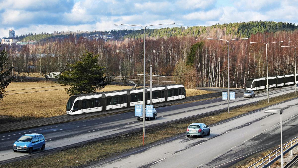 Raitiotieliikenne keskustorin ja Hervannan välillä käynnistyisi vuonna 2021. Vaunut toimittaa Transtech.